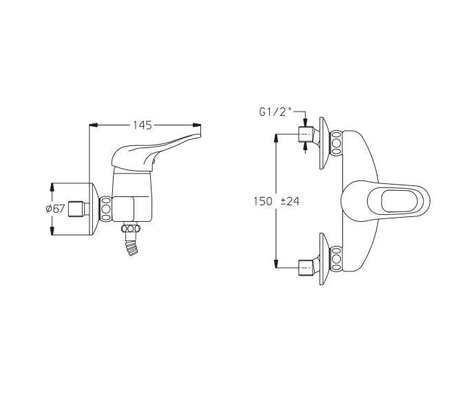 ברז מהקיר למקלחת Allegro 300170 diagram