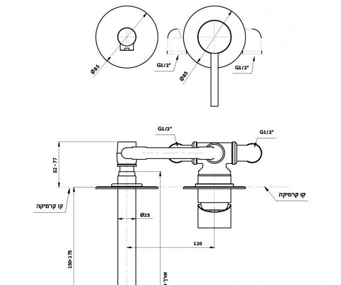 ברז קיר לכיור Masada 305213 diagram
