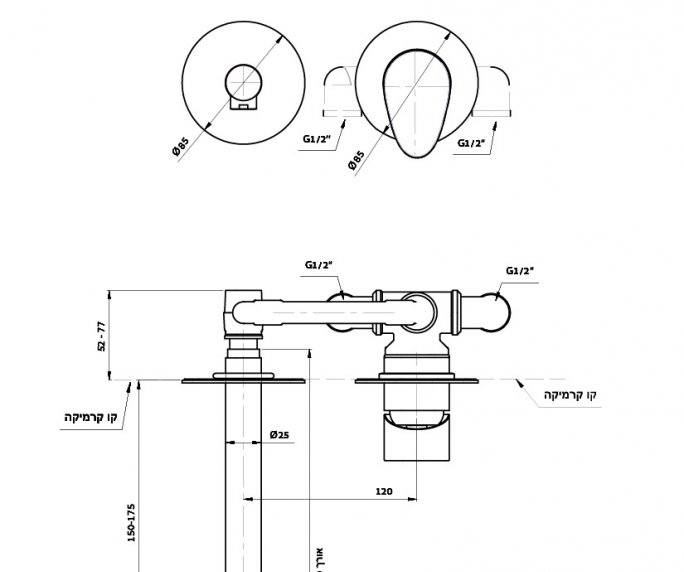 ברז קיר לכיור Wave 305113 diagram