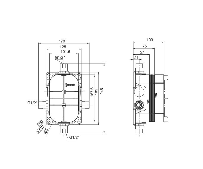 201792 כיסוי חיצוני קליר על קופסה עם מערכת קיר 4 דרך diagram